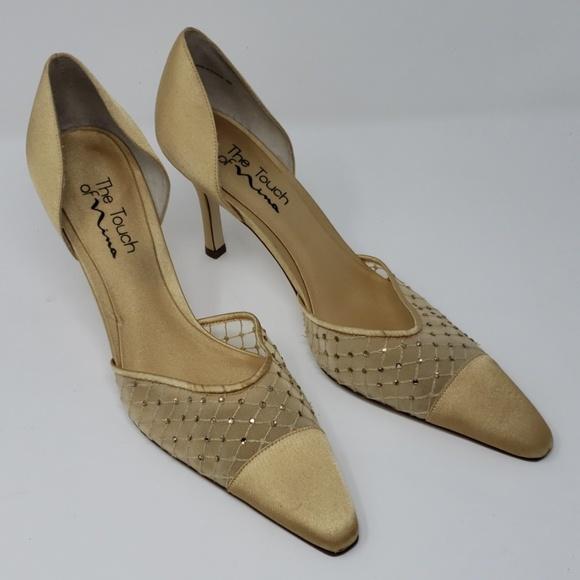"""Nina Shoes - Touch of Nina Gold/Rhinestone 2"""" Heel Size 9.5"""